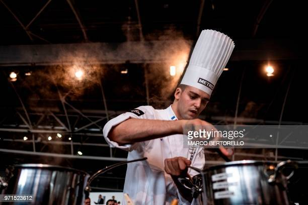 France's Louis De Vicari competes during the Europe 2018 Bocuse d'Or International culinary competition on June 11 2018 in Turin