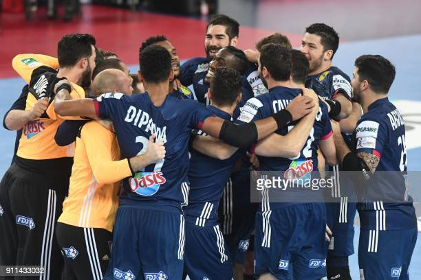 France's Luc Abalo France's Nikola Karabatic and teammates celebrate winning the match for third place of the Men's 2018 EHF European Handball...