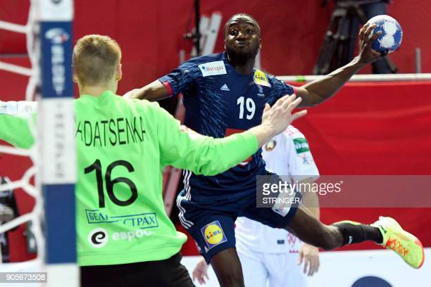 France's Luc Abalo shoots on goal during the Group B handball match of the Men's 2018 EHF European Handball Championship between France and Belarus...