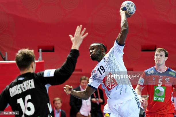 France's Luc Abalo shoots on goal during the preliminary round group B match of the Men's 2018 EHF European Handball Championship between France and...
