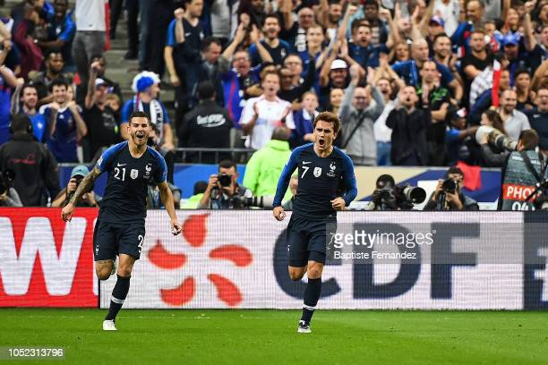 France's Lucas Hernandez and Antoine Griezmann celebrate Antoine Griezmann's second goal during the UEFA Nations League A group one match between...