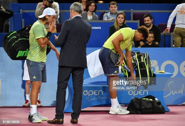 France's Lucas Pouille talks after his semi final tennis match against France's JoWilfried Tsonga at the Open Sud de France ATP World Tour in...