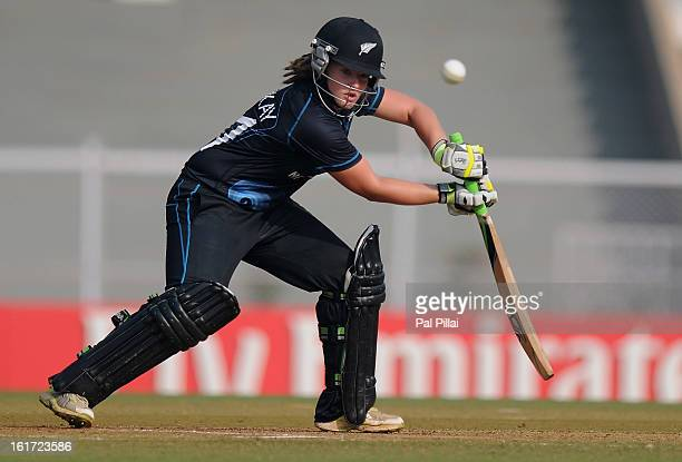 Frances Mackay of New Zealand bats during the 3rd/4th Place PlayOff game between England and New Zealand held at the CCI ground on February 15 2013...
