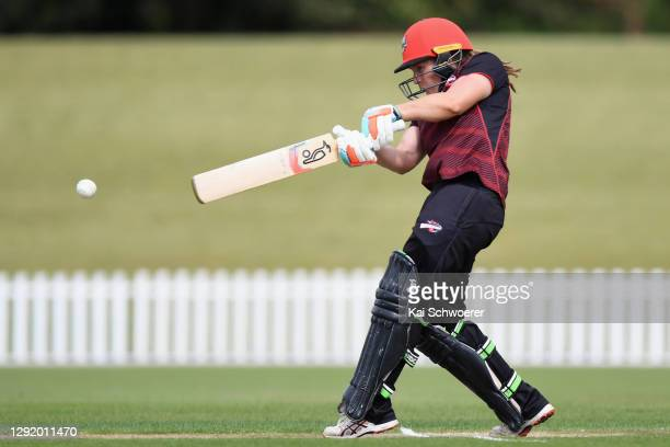 Frances Mackay of the Magicians bats during the Hallyburton Johnstone Shield match between the Canterbury Magicians and the Wellington Blaze at...