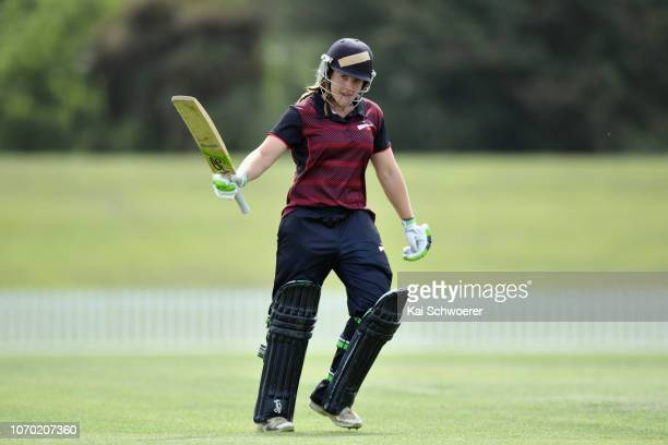 Frances Mackay of the Magicians celebrates her century during the Hallyburton Johnstone Shield match between the Canterbury Magicians and the Central...
