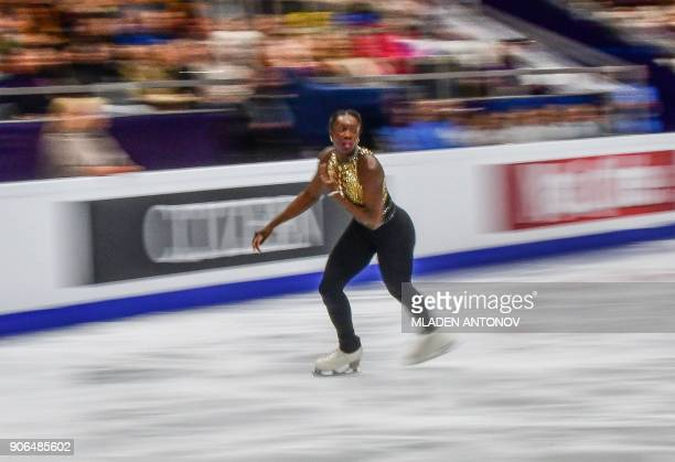 France's Mae Berenice Meite performs in the ladies' short program at the ISU European Figure Skating Championships in Moscow on January 18 2018 / AFP...