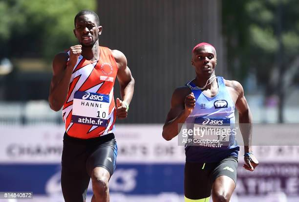 France's MamoudouElimane Hanne and Thomas Jordier compete in the men's 400 metres event during the French Athletics Championships Elite 2017 in...