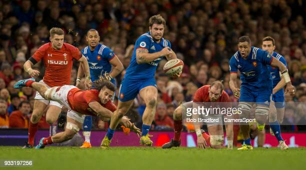 France's Marco Tauleigne in action during todays match during the NatWest Six Nations Championship match between Wales and France at Principality...