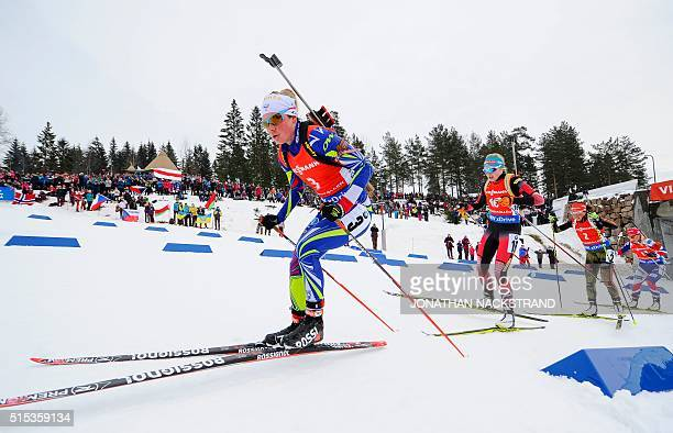 Frances Marie Dorin Habert Austrias Lisa Theresa Hauser Germanys Laura Dahlmeier and Norways Tiril Eckhoff compete in the Women 125 km Mass Start...