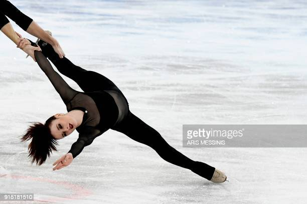 France's MarieJade Lauriault and Romain Le Gac practice in the team ice dance in the Gangneung Ice Arena during the 2018 Pyeongchang Winter Olympic...
