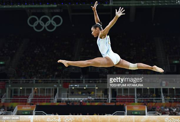 France's Marine Boyer competes in the women's balance beam event final of the Artistic Gymnastics at the Olympic Arena during the Rio 2016 Olympic...