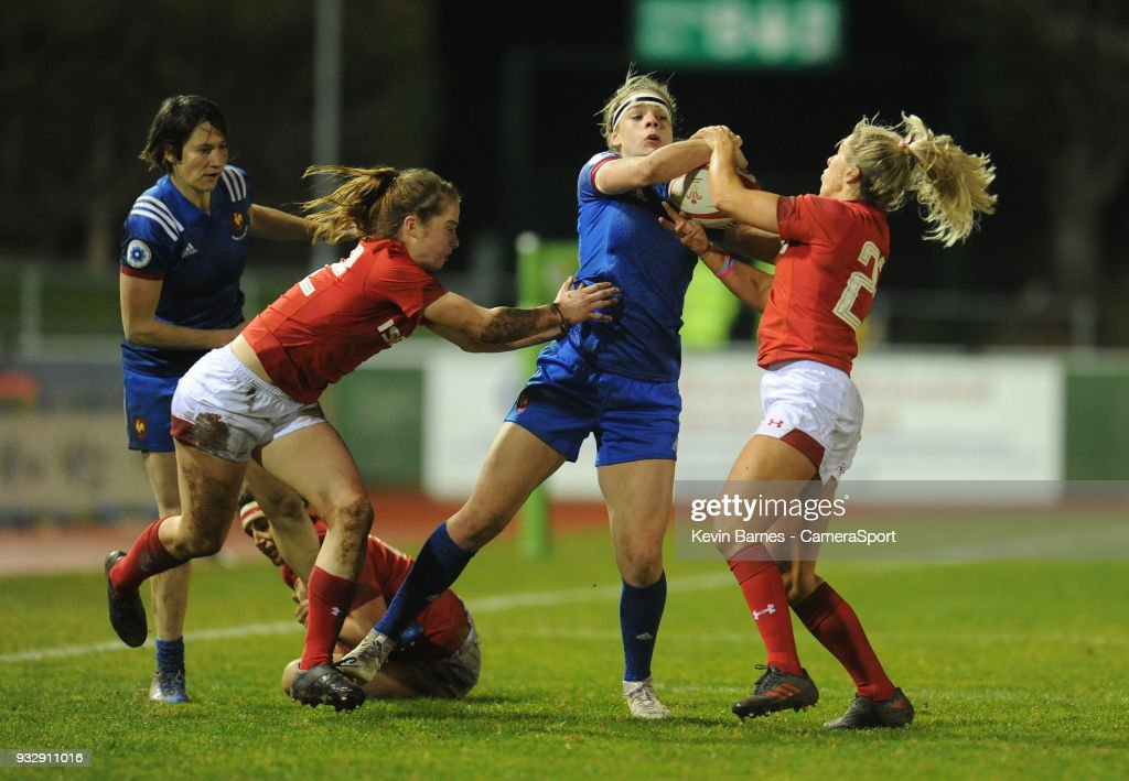 France's Marine Menager battles with Wales' Alecs Donovan during the Women's Six Nations Championships Round 5 match between Wales Women and France Women at Parc Eirias on March 16, 2018 in Colwyn Bay, Wales.