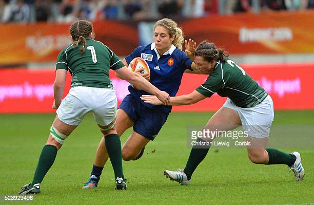 France's Marjotie Mayans during the IRB Women's Rugby World Cup match between Ireland and France at the Jean Bouin Stadium on August 17 2014 in Paris...