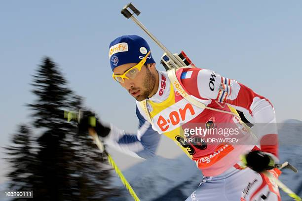 France's Martin Fourcade competes during Men 20 km Individual race during IBU World Cup Biathlon at Laura Cross Country and Biathlon Center in...