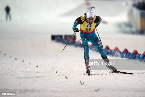 TOPSHOT France's Martin Fourcade competes in the men's 10 km sprint event during the IBU Biathlon World Cup Final in Tyumen on March 22 2018 France's...