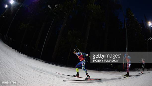 Frances Martin Fourcade competes in the men's 10km sprint race of the IBU Biathlon World Cup in KhantyMansiysk Russia on March 18 2016 AFP PHOTO /...