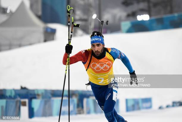 TOPSHOT France's Martin Fourcade competes in the men's 4x75km biathlon relay event during the Pyeongchang 2018 Winter Olympic Games on February 23 in...