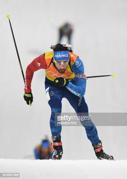 France's Martin Fourcade competes in the men's 4x75km biathlon relay event during the Pyeongchang 2018 Winter Olympic Games on February 23 in...