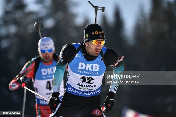 France's Martin Fourcade competes on his way to place fourth of the Men's 10 km sprint event of the IBU Biathlon World Cup in RasenAntholz Italian...