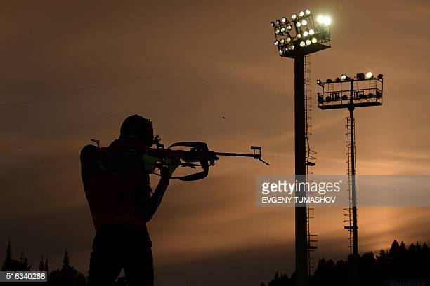Frances Martin Fourcade shoots during the warm up shooting ahead of the men's 10km sprint race of the IBU Biathlon World Cup in KhantyMansiysk Russia...