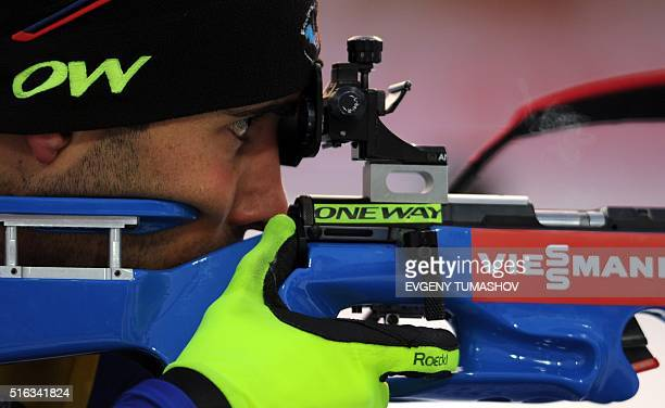 France's Martin Fourcade shoots during the warm up shooting ahead of the men's 10km sprint race of the IBU Biathlon World Cup in KhantyMansiysk...