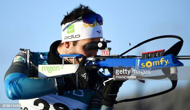 France's Martin Fourcade twotime Olympic biathlon champion and flagbearer of the French team at the Pyeongchang Winter Games practices at the...