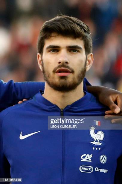 France's Martin Terrier listens to the national anthem before the friendly under21 football match between Germany and France in Essen western Germany...