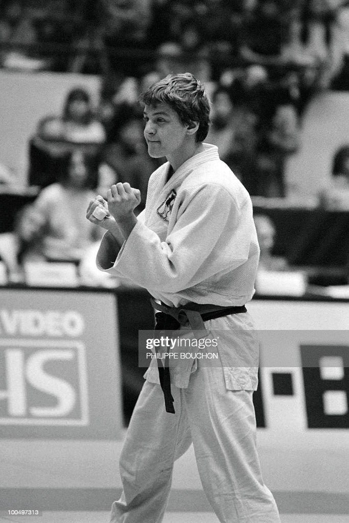 France's Martine Rottier reacts after she won Inger Lise Solheim of Norvegia and won the gold metal (less than 61kg) during the world championship final in judo, on December 4, 1982, in Paris.