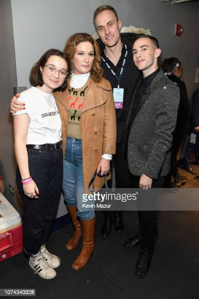 Frances Mary McKittrick Ana Gasteyer JussiPekka Kajaala and Adam Rippon pose backstage during Full Frontal With Samantha Bee Presents Christmas On...