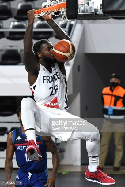 France's Mathias Lessort dunks the ball during the FIBA EuroBasket 2022 qualifier basketball match between France and Britain in Podgorica on...