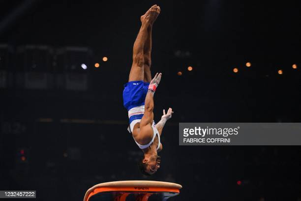 France's Mathias Philippe competes in the Men's vault qualifications during European Artistic Gymnastics Championships at the St Jakobshalle, in...