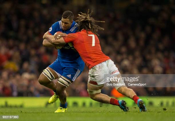 France's Mathieu Babillot is tackled by Wales' Josh Navidi during the NatWest Six Nations Championship match between Wales and France at Principality...