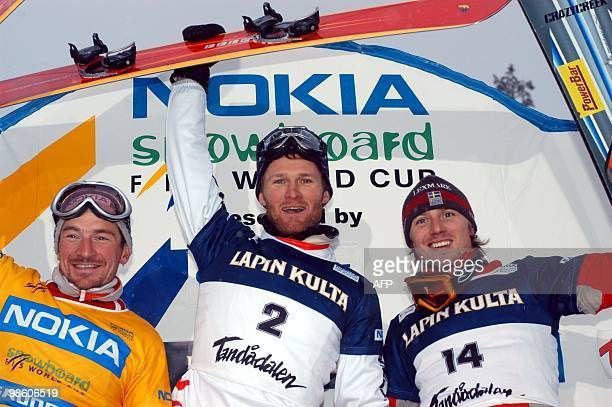 France's Mathieu Bozzetto Germany's Markus Ebner and Sweden's Daniel Biveson stand on the podium after the World Cup parallell slalom race 06...