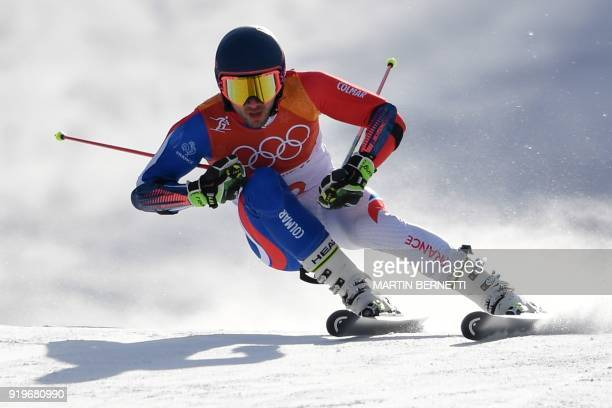 France's Mathieu Faivre competes in the Men's Giant Slalom at the Jeongseon Alpine Center during the Pyeongchang 2018 Winter Olympic Games in...
