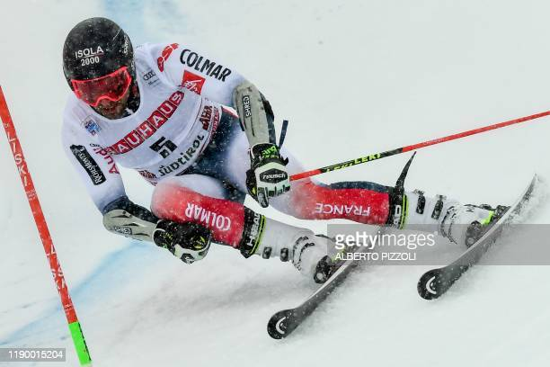 France's Mathieu Faivre competes in the Men's Giant Slalom of the FIS Alpine World Cup on December 22, 2019 in Alta Badia, Dolomites.