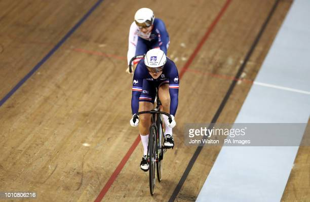 France's Mathilde Gros leads Great Britain's Lauren BateLowe in the Sprint Women's Eighth Finals heat two race during day three of the 2018 European...