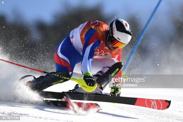 France's Maxence Muzaton competes in the Men's Alpine Combined Slalom at the Jeongseon Alpine Center during the Pyeongchang 2018 Winter Olympic Games...