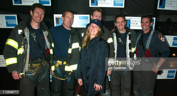 Frances McDormand a Tribeca Film Festival judge with New York firefighters from Ladder Co 10