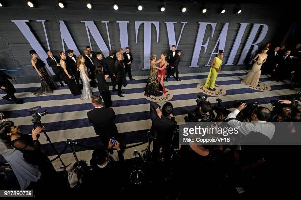 Frances McDormand and Gal Gadot embrace as they pose for pictures at the 2018 Vanity Fair Oscar Party hosted by Radhika Jones at Wallis Annenberg...