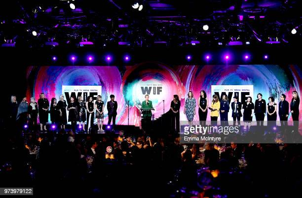 Frances McDormand and honorees speak onstage during the Women In Film 2018 Crystal Lucy Awards presented by Max Mara Lancôme and Lexus at The Beverly...