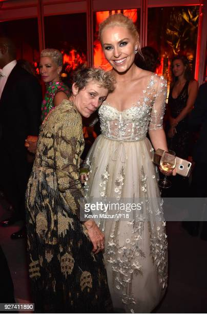 Frances McDormand and Lindsey Vonn attend the 2018 Vanity Fair Oscar Party hosted by Radhika Jones at Wallis Annenberg Center for the Performing Arts...