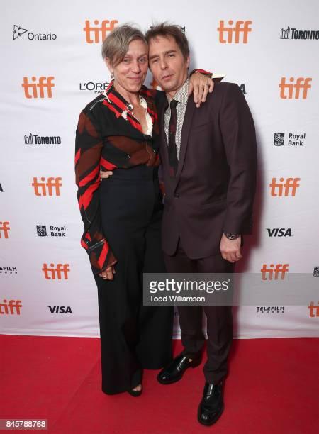 Frances McDormand and Sam Rockwell attend Fox Searchlight's Three Billboards Outside Ebbing Missouri TIFF Screening at Ryerson Theatre on September...