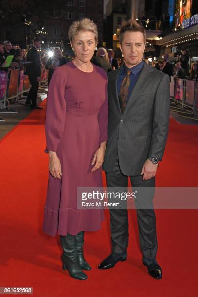 Frances McDormand and Sam Rockwell attend the UK Premiere of Three Billboards Outside Ebbing Missouri at the closing night gala of the 61st BFI...