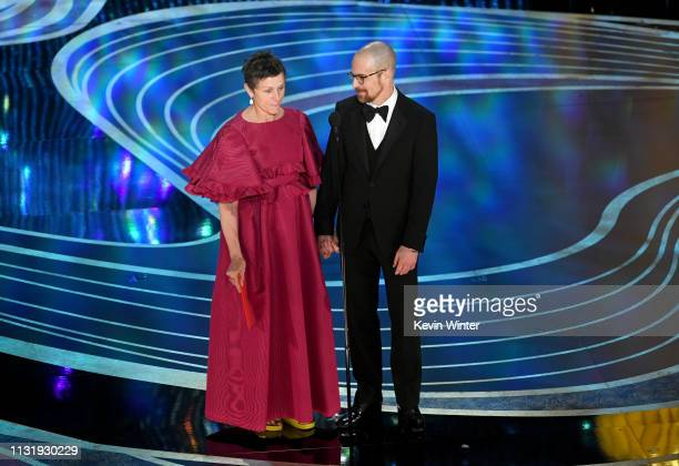 Frances McDormand and Sam Rockwell speak onstage during the 91st Annual Academy Awards at Dolby Theatre on February 24 2019 in Hollywood California