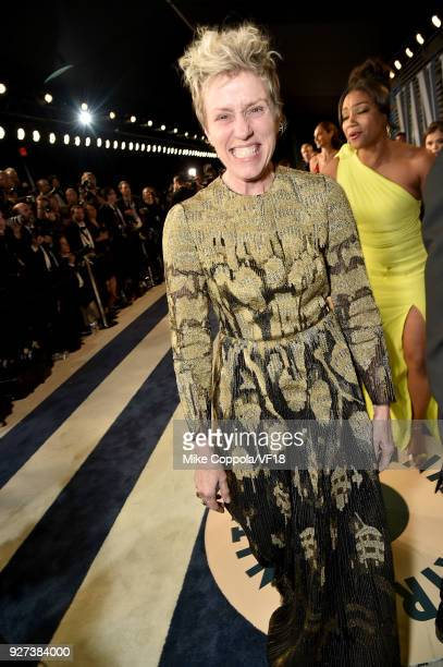 Frances McDormand attends the 2018 Vanity Fair Oscar Party hosted by Radhika Jones at Wallis Annenberg Center for the Performing Arts on March 4 2018...