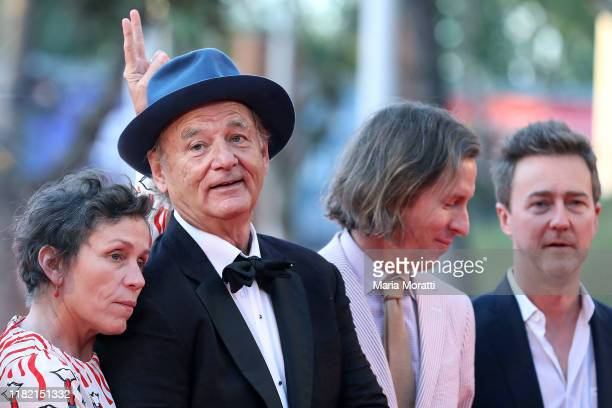 Frances McDormand Bill Murray Wes Anderson and Edward Norton walk the red carpet during the 14th Rome Film Festival on October 19 2019 in Rome Italy