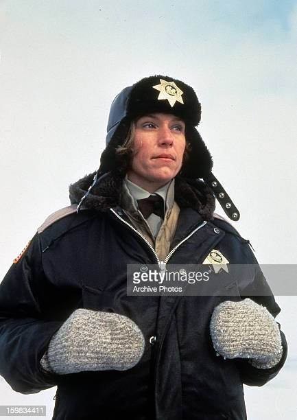 Frances McDormand bundled up in police uniform in a scene from the film 'Fargo' 1996