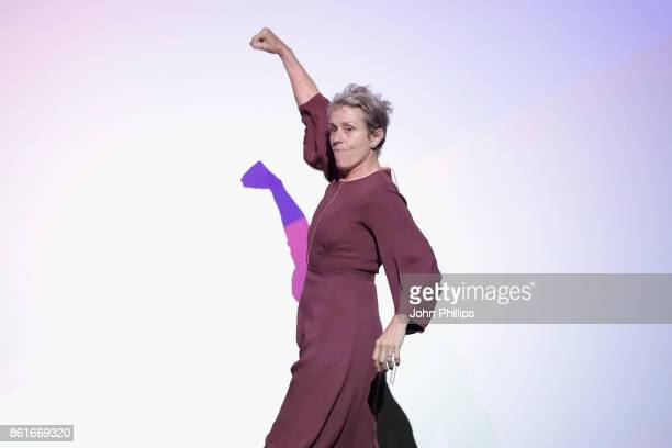 Frances McDormand is seen on stage ahead of the UK Premiere of Three Billboards Outside Ebbing Missouri at the closing night gala of the 61st BFI...
