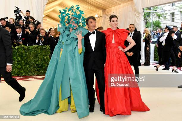 Frances McDormand Pierpaolo Piccioli and Anne Hathaway attend the Heavenly Bodies Fashion The Catholic Imagination Costume Institute Gala at The...