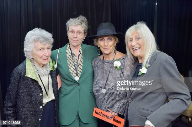 Frances McDormand Rosilyn Heller and Jane Fleming attend the Women In Film 2018 Crystal Lucy Awards presented by Max Mara Lancôme and Lexus at The...